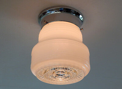 Flush Mount Ceiling Light. Vintage Glass Shade with New Chrome Fixture