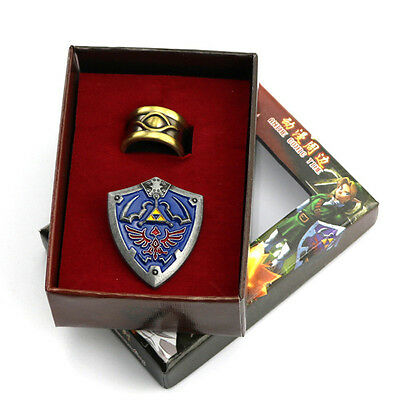 The Legend of Zelda Badge Symbols Badge And Gold Ring Wearable Cosplay Set