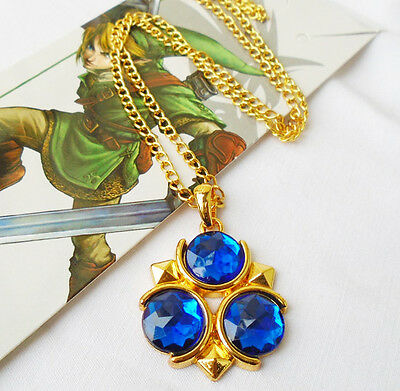 The Legend of Zelda Blue Ocarina of Time Zora's Sapphire Necklace Link Pendant
