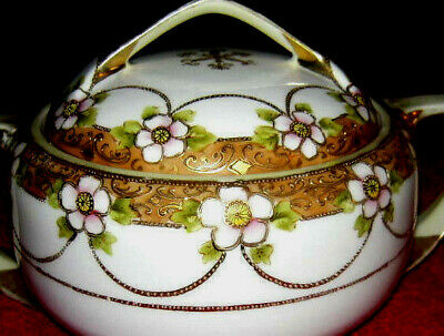 Antique Nippon Floral & Gold Moriage Serving Bowl w/Handles Hand Painted