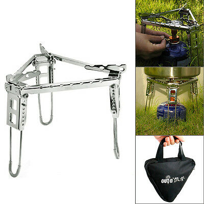 Cooking Camping Portable Folding Steel Triangle Bracket Pot Stove Stand Holder