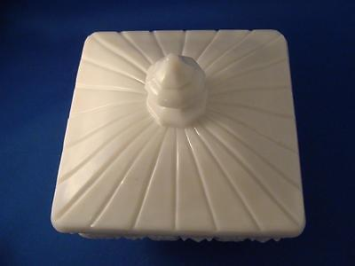 Vintage WESTMORELAND Old Quilt COVERED CANDY DISH Milk Glass