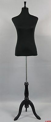 Cotton Cover White Female Dress Mannequin Torso With BLACK Wooden Stand BLACK