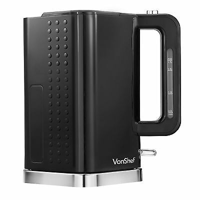 VonShef 3000W 1.7 Litre Black & Chrome Cordless Electric Rapid Boil Jug Kettle
