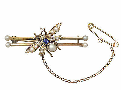 Sapphire & Diamond, Pearl & 15ct Yellow Gold 'Insect' Brooch - Antique Victorian
