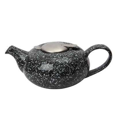 London Pottery Pebble Design Ceramic Teapot With Filter, 2 Cup, Gloss Black
