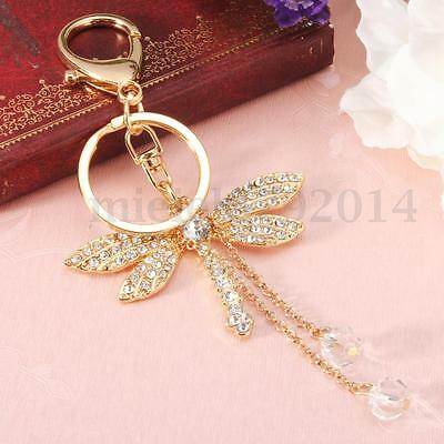 Dragonfly Crystal Diamonte Keyring Charm Pendant Purse Bag Key Holder Keychain