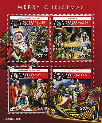 Solomon Islands 2015 MNH Merry Christmas 4v M/S Santa Claus Nativity Baby Jesus