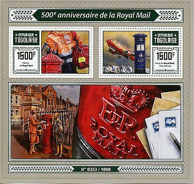 Togo 2016 MNH Royal Mail 500th Anniv 2v S/S Post Box Postman Aviation Stamps