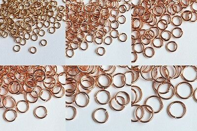 100x Rose Gold Open Jump Ring Finding, 3mm to 8mm