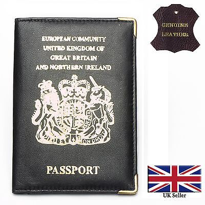 Real Leather Passport & Credit Card Holder Wallet Cover Case Black