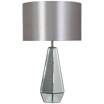Kliving Glendale Mirrored Table Lamp With Grey Matching Shade Home Lighting