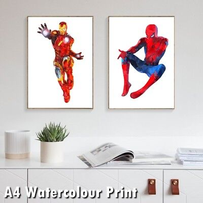 Avenger DC Superhero Watercolour Print Poster Spiderman Ironman Hulk Thor Batman