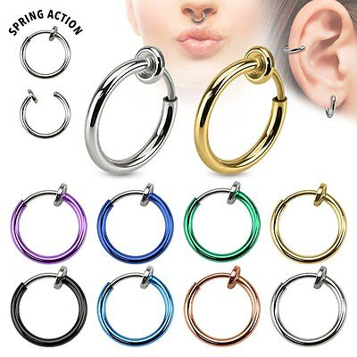 Spring Action Titanium Plated Fake Septum, Nose, Captive, Ear Hoop/Ring