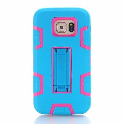 Blue/Hot Pink Shockproof Tough Stand Hard Cover Case For Samsung Galaxy S7
