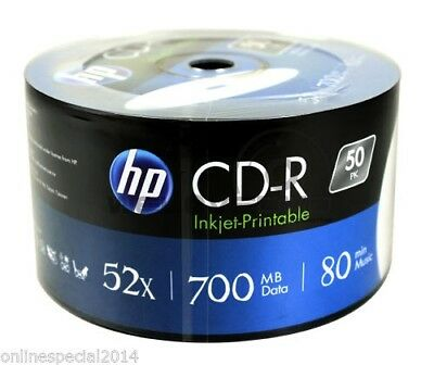 50 HP SEALED WHITE inkjet Printable Blank CD-R media 52X CD CD R not TDK LG AP-C