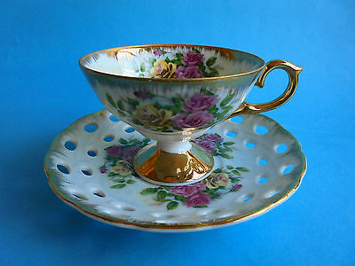 Vintage Japanese Lustre Ware Duo Tea Cup And Saucer With Pink Roses