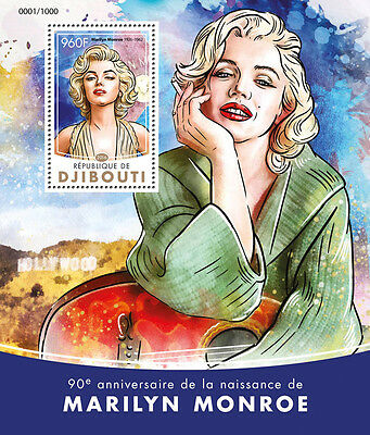 Djibouti 2016 MNH Marilyn Monroe 90th Ann 1v S/S Movie Stars Celebrities Stamps