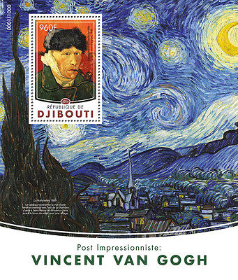 Djibouti 2016 MNH Vincent Van Gogh 1v S/S Self-Portraits Art Paintings Stamps