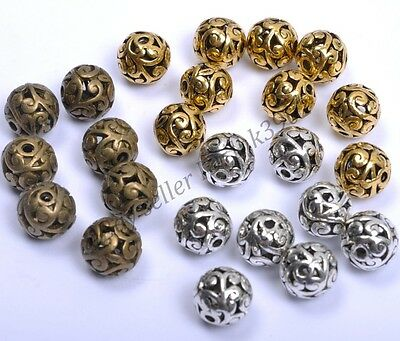 Wholesale 10Pcs Round Metal Carved Hollow Tibetan Silver Loose Spacer Beads 11MM