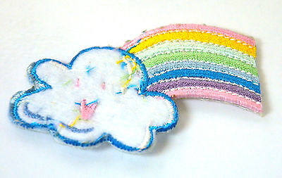 Rainbow & Cloud Weather  Embroidered Iron Sew On Cloth Patch Badge APPLIQUE
