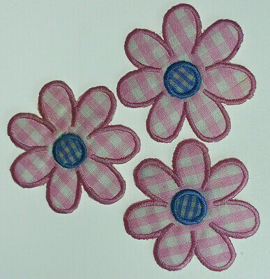 3x PINK GINGHAM DAISY FLOWER Embroidered Iron Sew On Cloth Patch Badge APPLIQUE