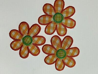 2 ORANGE GINGHAM DAISY FLOWER Embroidered Iron Sew On Cloth Patch Badge APPLIQUE