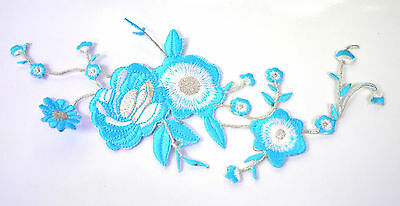 BLUE DAISY FLOWER PLANT Embroidered Iron Sew On Cloth Patch Badge APPLIQUE