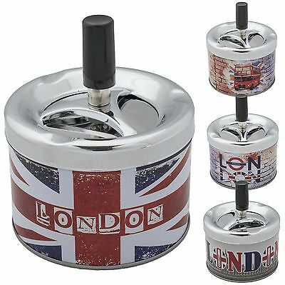 Spinning Ash Tray Ashtray Cigarette Smoking Push Down New Novelty London Metal