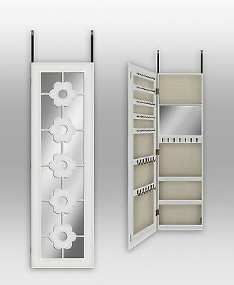 Over The Door/ Wall Mount Jewelry Armoire With Mirror--White