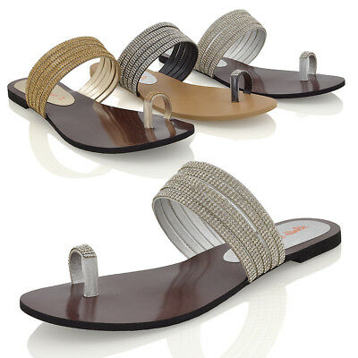 b070b5d19f58a2 Womens Flat Toe Post Diamante Strappy Sandal Ladies Slip On Sparkly Shoes  Size