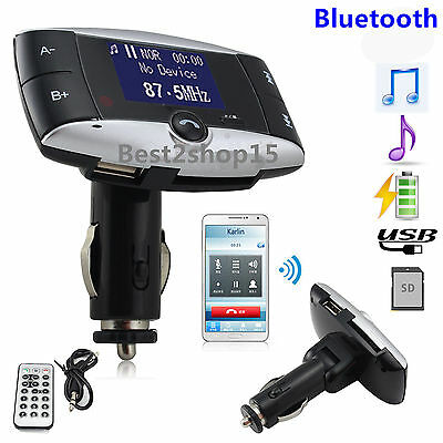 LCD Bluetooth FM Transmitter Car Kit MP3 Player Modulator MMC USB Remote USA