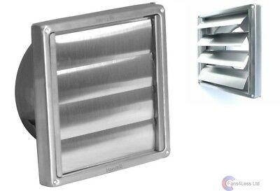 "Gravity Grille Brush Steel External Wall Ducting Bathroom Extractor Fan 4"" 100mm"