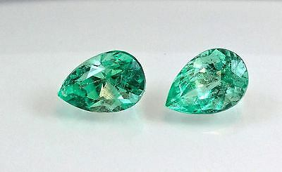 3.56 TCW Pear Matched Pair Natural Colombian Emeralds Loose Gemstones