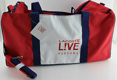 Lacoste Perfums Duffle/Travel Bag, White/Red/Navy Blue, New with tags LARGE