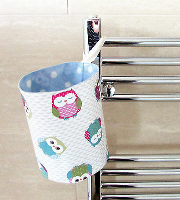 Handmade toy bathroom nursery nappy stacker storage tub Owls Blue Pink Oilcloth