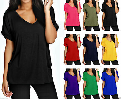 Womens Ladies Baggy Loose Fit V Neck Turn Up Short Sleeve Top T Shirts