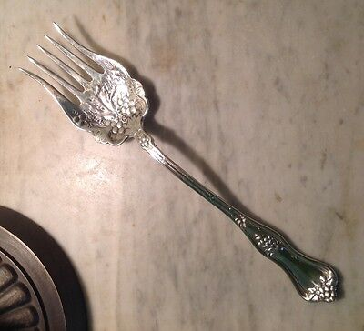 "GORGEOUS, HEAVY SOLID STERLING Huge Dominick & Haff ""Grape"" Meat Serving Fork"