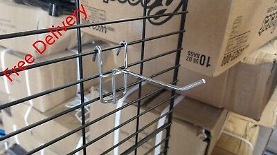 50 x 100 mm hooks for grid mesh gondola supermarket shelving