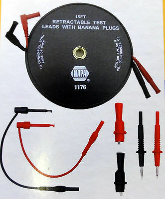 7-Piece Retractable 15 Ft. Test Lead Kit Professional 1500 Series 1176 by Kastar