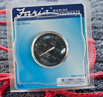"Faria 13724 Chesapeake Black Stainless Steel 2"" 2 Bar Water Psi Gauge Metric"