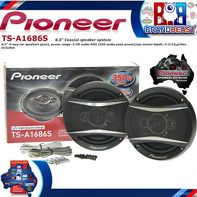"Pioneer Ts-A1686S 6.5"" 4 Way 350 Watt Coax Car Audio Stereo  Speakers Tsa1686S"
