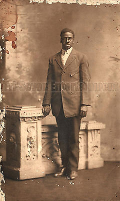 Antique African American Man Real Photo Postcard RPPC Old Black Americana TRP11