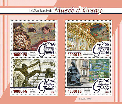 Guinea 2016 MNH Orsay Museum Musée d'Orsay 4v M/S Bourdelle Art Paintings Stamps