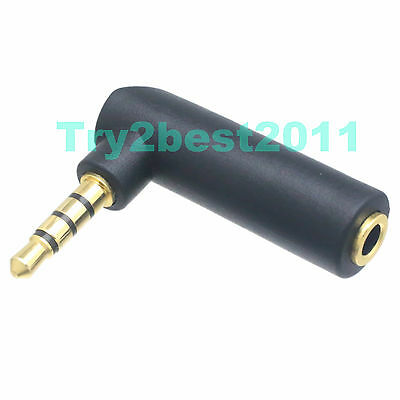 """3.5mm 1/8"""" Male Plug to Female Jack 4 Pole right angle 90° Audio Video Adapter"""