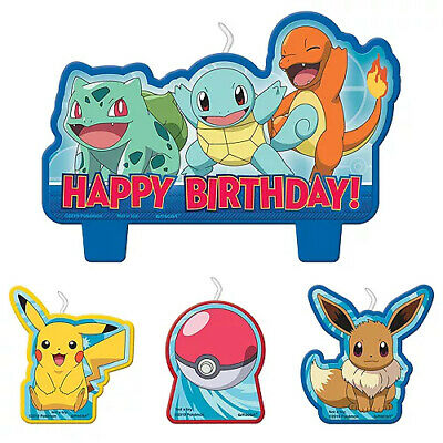 Pokemon Party Supplies CANDLE SET Pack Of 4 Genuine Licensed