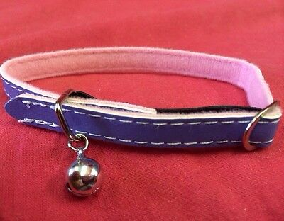 Cat kitten Collar Reflective Adjustable Purple Pink Elastic Safety Buckle Bell