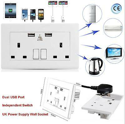 Double White Wall Faceplate 2 Gang UK Plug Socket 13A with 2 USB Outlets Ports