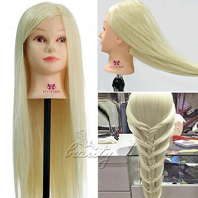 """30"""" 100% SUPER LONG HAIR Hairdressing Synthetic NEW Style Mannequin Head +Clamp"""
