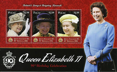 Palau 2016 MNH Queen Elizabeth II 90th Birthday Longest Reigning 3v M/S Stamps